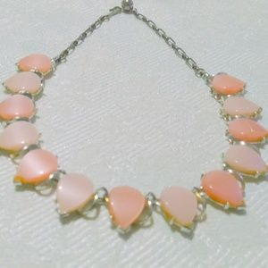 Vintage Mid Century Pink Thermoset Choker Necklace